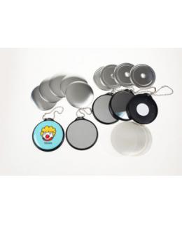 100 badges Porte-clés Miroir avec chainette - 37mm