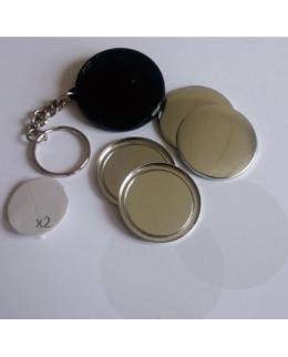 100 badges porte-cles deux faces plastique 37mm