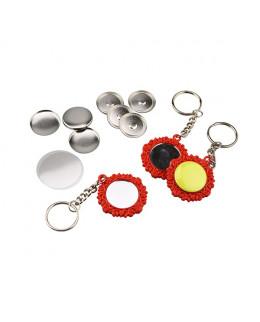 Pièces pour 50 porte-clés 25mm Fleur rouge dos miroir