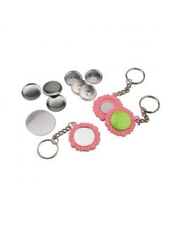 Pièces pour 50 porte-clés 25mm Fleur rose dos miroir